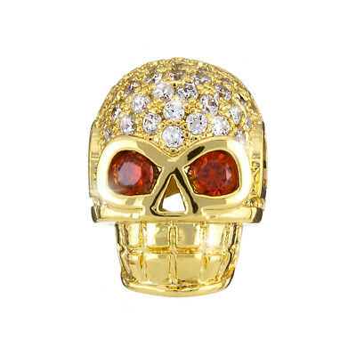 H89//6 Brass Hollow Skull Bead Micro Pave Cubic Zirconia Silver
