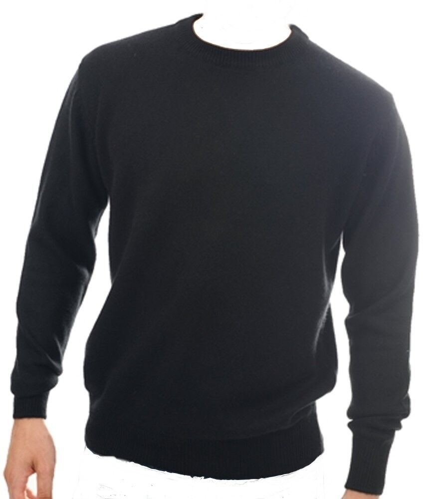 Balldiri 100% Cashmere Herren Pullover Rundhals schwarz XL