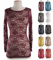 Sexy Floral Lace Crochet Long Sleeve Sheer Tee T-Shirt Tunic Top Tight Blouse