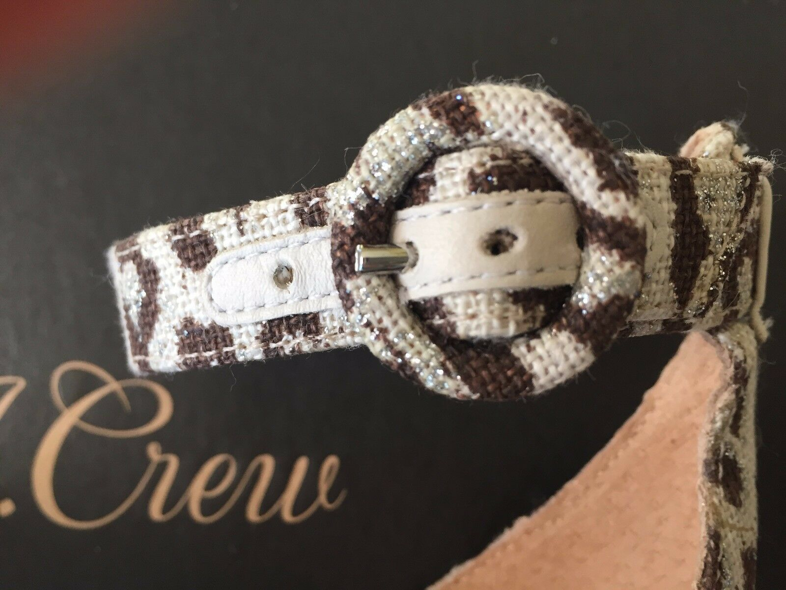 NIB J.Crew  158 Laila Wedge in Leopard Print Ivory Ivory Ivory Brown Silver Size 6 86b42a