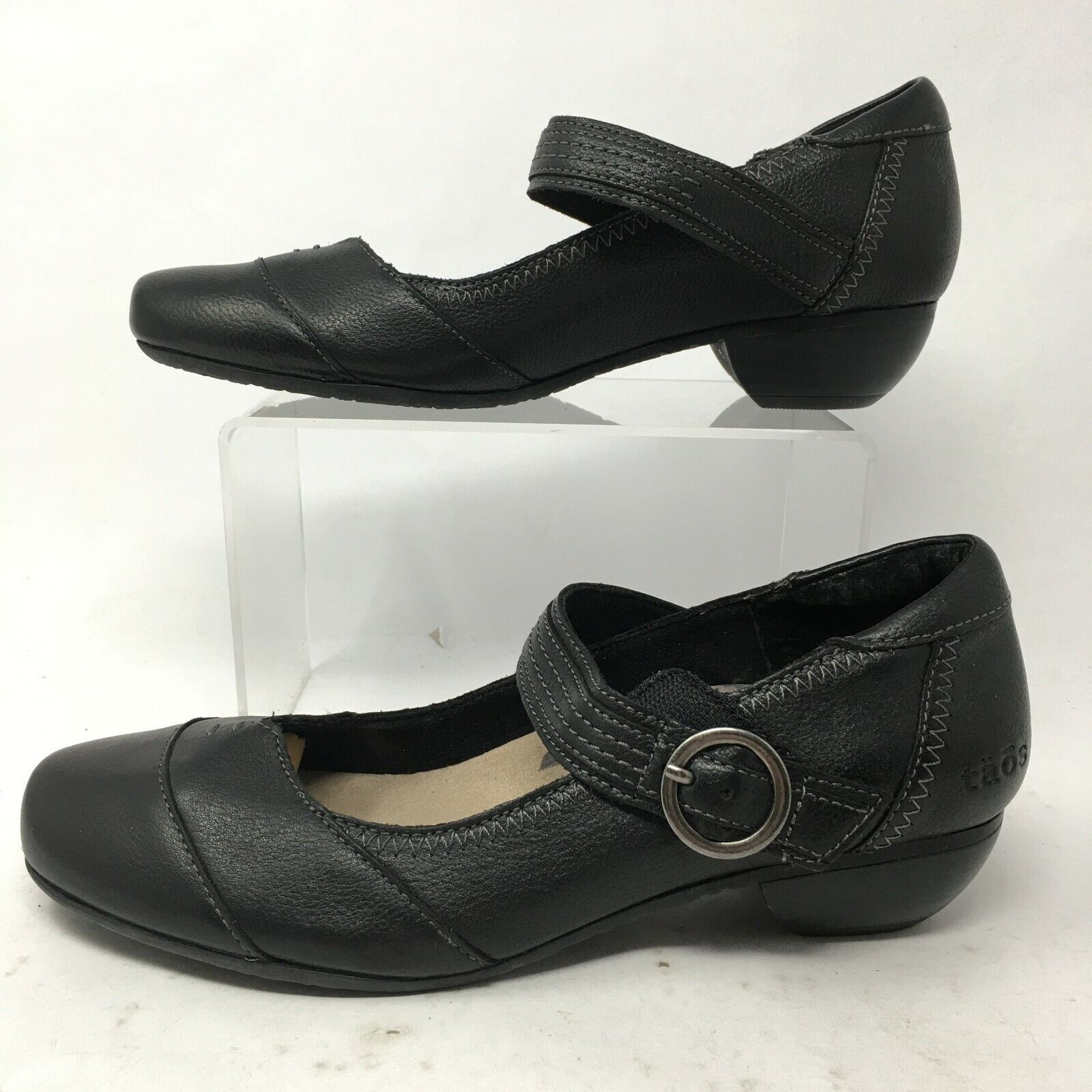 Taos Womens 6.5 Virtue Mary Jane Slip On Casual Comfort Shoes Black Leather