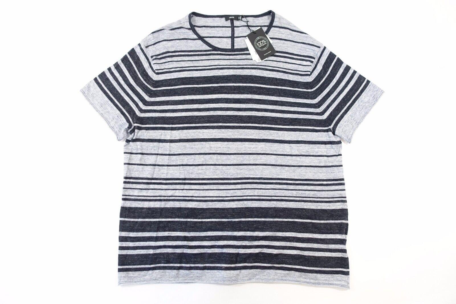 Vince M30416288 Gestreift Grau 2XL 2XL 2XL Weich Kaschmir Mischung Gewoben T-Shirt c872fb
