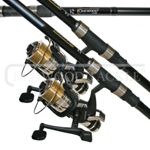 2 X CARP STALKER FISHING RODS 8FT & 2 OAKWOOD B,T,R COARSE FISHING REELS + LINE