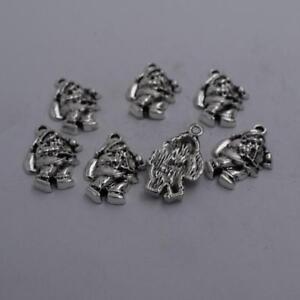 4pcs-Antique-silver-plated-nice-Santa-Claus-charm-pendant-T0616