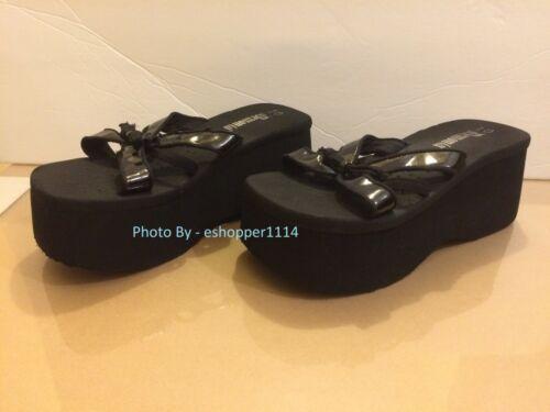 Demonia Black Platform Strappy Sandals Size 10