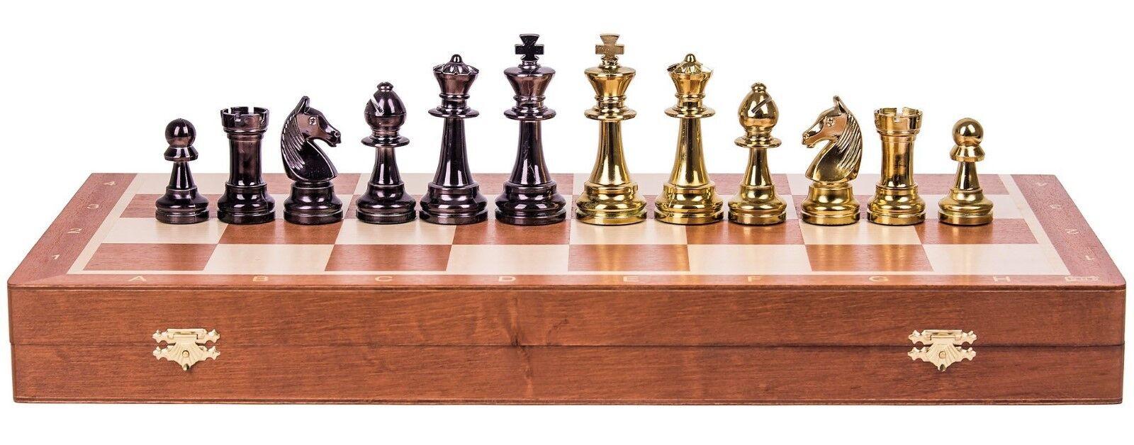 SQUARE - Schach Schachspiel STAUNTON NR. 6 6 6 - Gold Edition - Schachbrett aus Holz 760a44