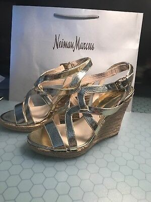 Wedge Sandals Metallic Gold Sz