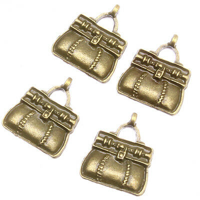 200pcs Antique Bronze Zinc Alloy Handbag Shape Craft Charms Jewelry Pendant J