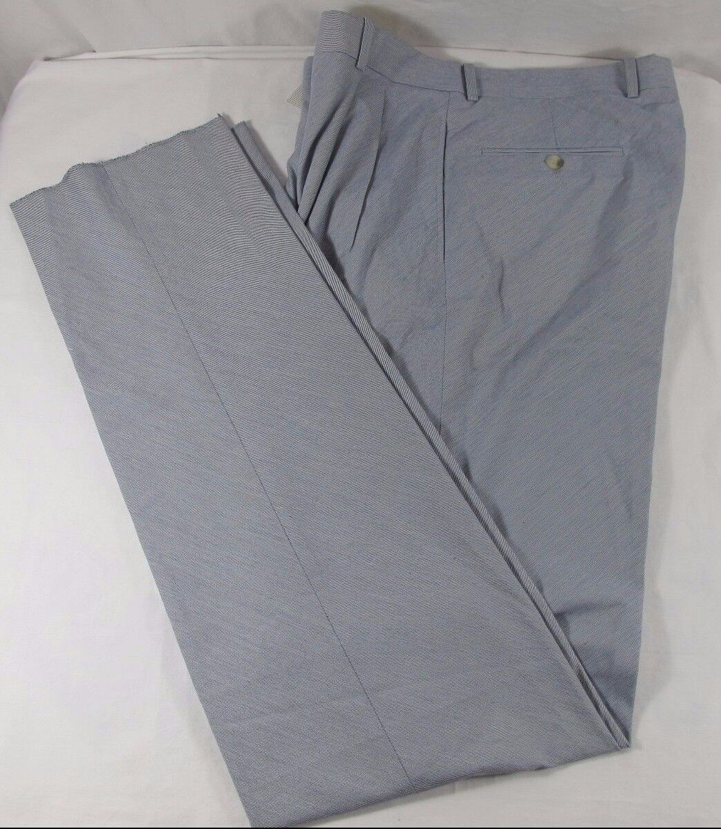 Bernard Zins bluee Polyester Cotton Pleated Fine Striped Pants UNHEMMED Sz 34 NWT