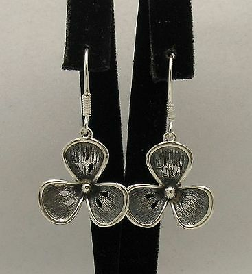 STYLISH STERLING SILVER EARRINGS SOLID 925 FLOWER NEW E000353 EMPRESS