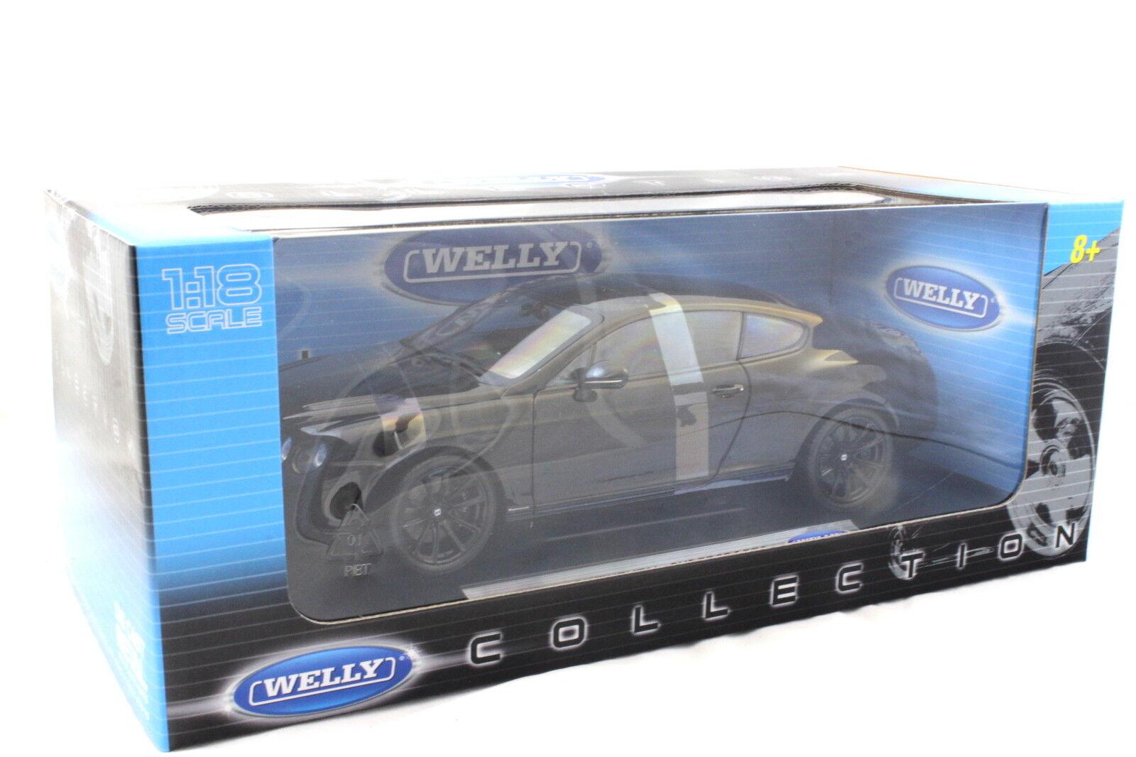 Welly Bentley Bentley Bentley Continental SuperDeporte Coupe Negro 1 18 Diecast a2d346