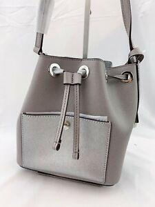 NWT-Michael-Kors-Greenwich-Small-Cross-Body-Drawstring-Bucket-Bag-Grey-Silver