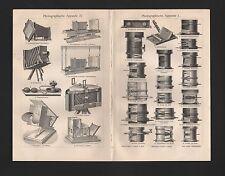 Lithografie 1906: Photographische Apparate I- IV. Kodak, Zeiss, Goerz, Ernemann