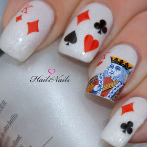 Nails Nail Art Water Transfers Decals Playing Cards King Of Hearts