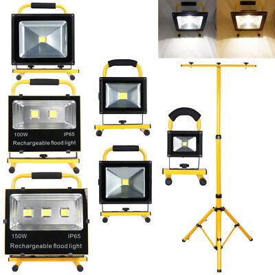 10W 20W 30W 50W 100W 150W LED AKKU Strahler Fluter Außen Handlampe Stativ IP65