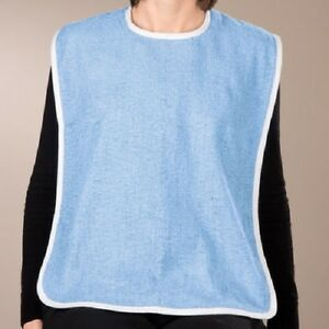 12-NEW-ADULT-TERRY-CLOTH-BIBS-W-VELCRO-CLOSURES-BLUE