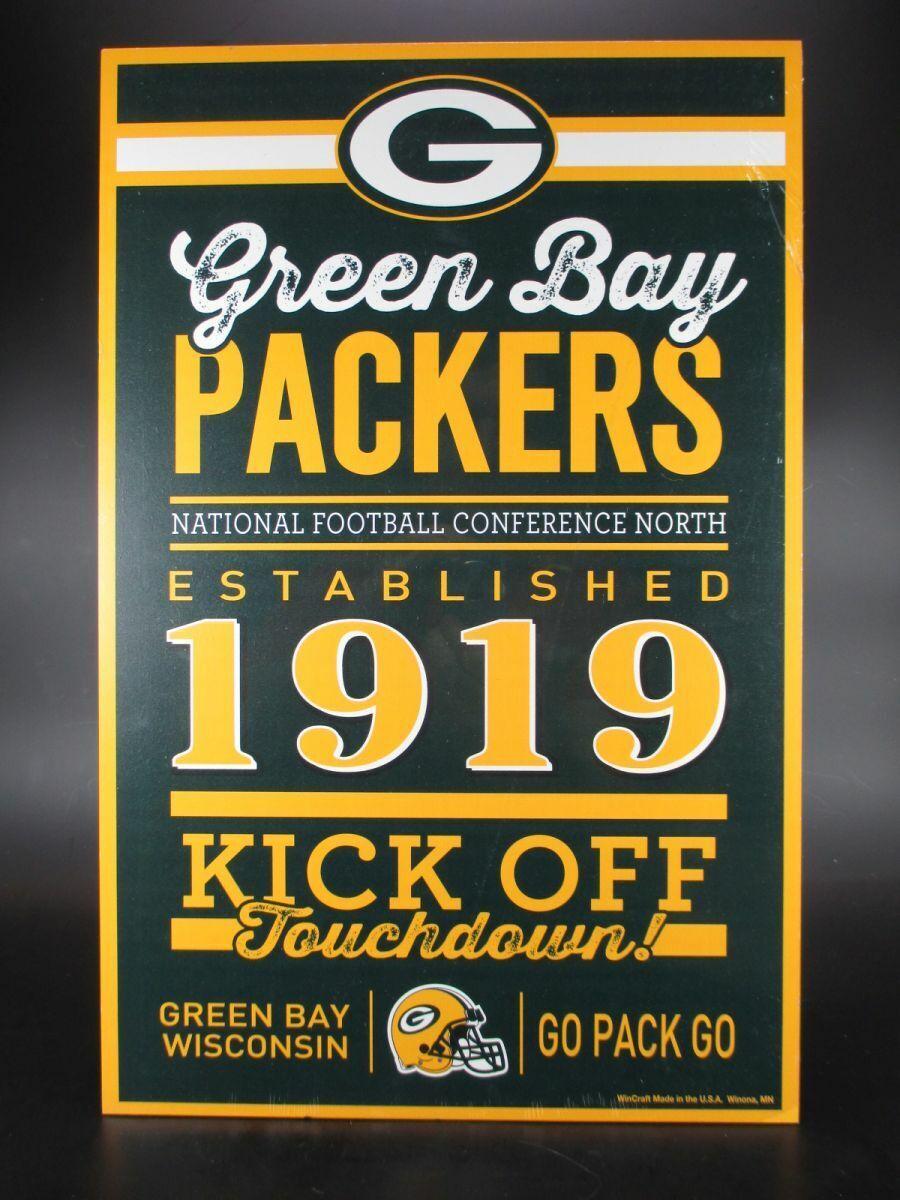 green Bay Empacadores Placa 43cm NFL Fútbol, Established Madera Símbolo
