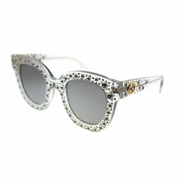 bb09e80bb4a Gucci GG0116S 001 Crystal Stars Plastic Square Sunglasses Silver Mirror Lens