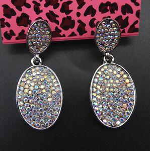 Betsey-Johnson-AB-Crystal-Rhinestone-Oval-Stud-Drop-Earrings