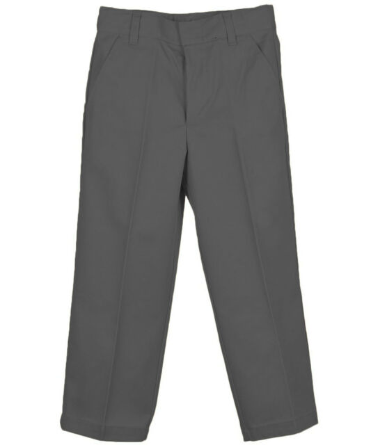 BOYS CHARCOAL GREY PANTS GENUINE SCHOOL FLAT FRONT Sizes 4 to 20