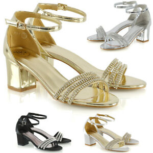 Womens-Low-Heel-Strappy-Sandals-Ladies-Bridal-Prom-Diamante-Shoes-Size-3-8