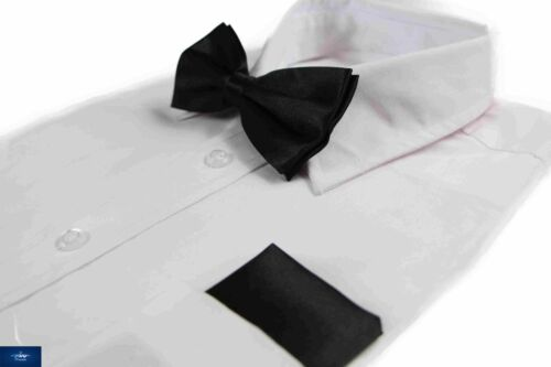 PLAIN POCKET SQUARE HANKY HANDKERCHIEF WEDDING MENS 2 PCS SET BLACK BOW TIE