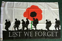 Lest We Forget Flag 3x2 WW1 Soldiers Army Navy RAF Remembrance Day 1914  British