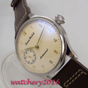 44mm-PARNIS-Beige-dial-Leather-17-jewels-6497-Handaufzug-movement-Uhr-mens-Watch
