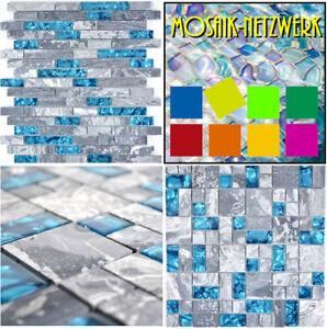 Glasmosaik-Naturstein-Grau-Blau-Fliesenspiegel-Kuechenrueckwand-Dusche-Cartagena