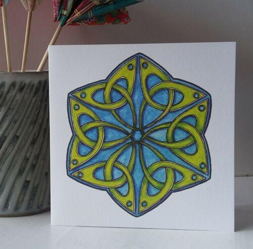 Celtique Trèfle Hexagone-Blank Art Carte de Vœux-Celtique Entrelacs