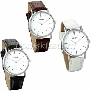 Womens-Simple-Fashion-Scale-Metal-Case-Leather-Straps-Quartz-Wrist-Watch-Watches