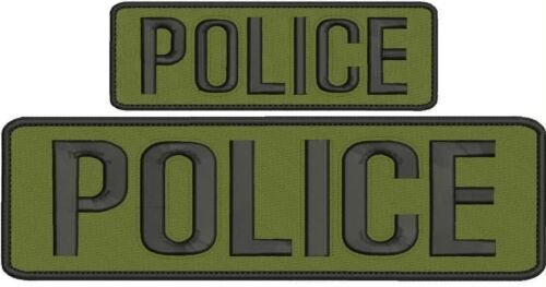 """/""""Police/"""" embroidery patch 3x10 and 2x6 inches hook OD green"""
