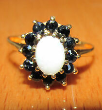 SECONDHAND 9ct YELLOW GOLD OPAL & SAPPHIRE RING SIZE P