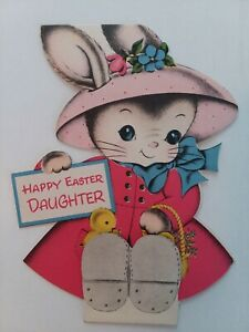1940-50s-Vtg-BUNNY-Girl-Baby-CHICKS-Stand-Up-DAUGHTER-Norcross-EASTER-Greet-CARD