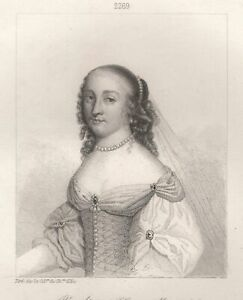 Portrait-of-Laure-Mancini-Duchess-of-Vendome-Engraving-Xixth