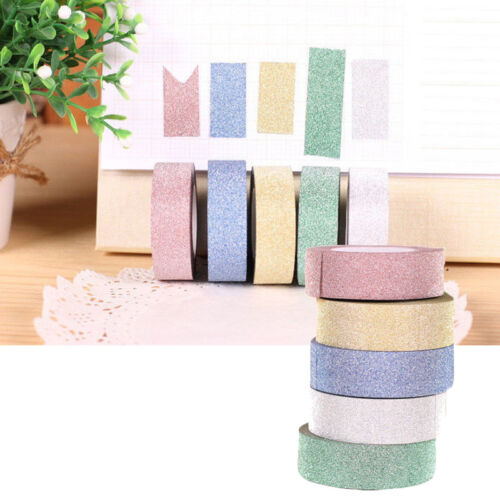 Glitter Washi Sticky Paper Masking Adhesive Tape Label DIY Craft Decorative 5M C