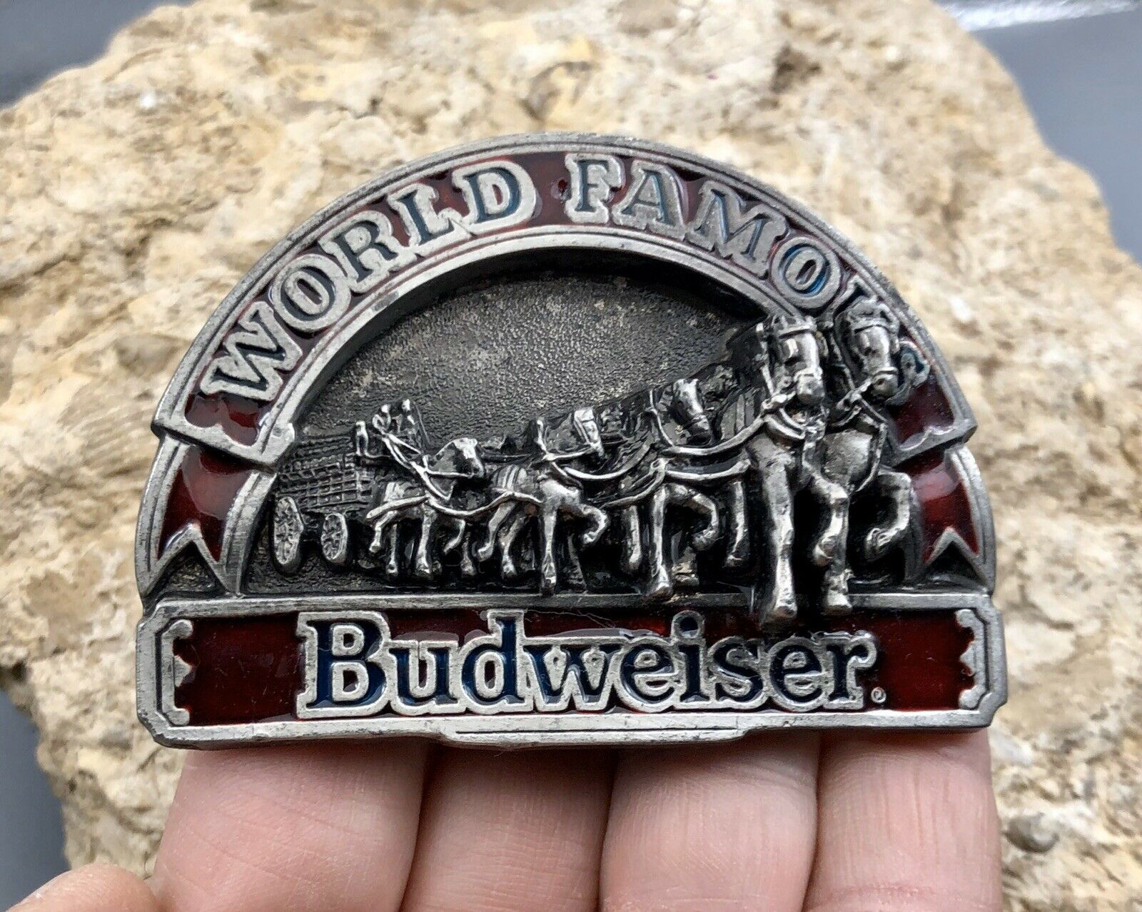 Budweiser World Famous Belt Buckle 1992 Made in USA Vintage BB138