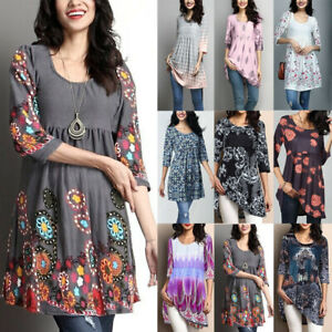 Women-Cotton-Summer-Gypsy-Baggy-Tunic-Top-Shirts-Long-Sleeve-Blouse-Plus-Size