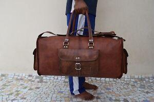 Leder-Reisetasche-Duffle-Bag-Weekend-Reisegepaeck-Handtasche-Sporttasche