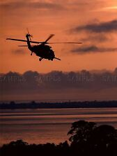 MILITARY AIR CRAFT HELICOPTER CHOPPER SILHOUETTE DUSK RED POSTER PRINT BB924A