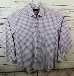 David-Donahue-White-Purple-Blue-Plaid-Men-039-s-Button-Dress-Shirt-16-1-2-34-35