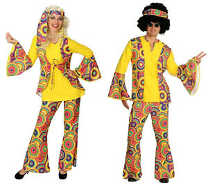 Costume Hippie Da Donna 70er 80er anni Vestito Costume Flowerpower Hippie PARTY DISCOTECA