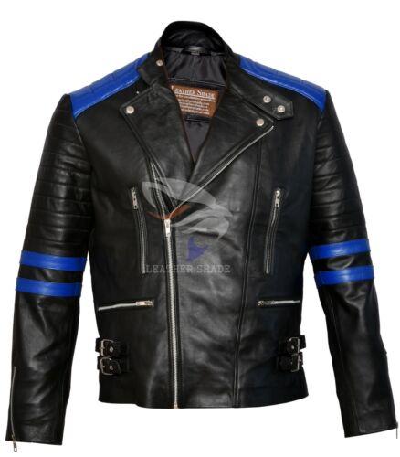 Men/'s Brando Classic Biker Black /& Blue Vintage Motorcycle Real Leather Jacket