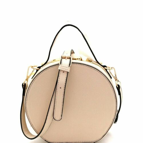 Saffiano Medium PU Leather Round Satchel Shoulder Bag Crossbody