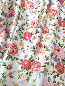 Floral Rose Ivory Orange Red Faux Silk Satin 48 Quot W Fabric Dress Scarf Skirt Drape Ebay