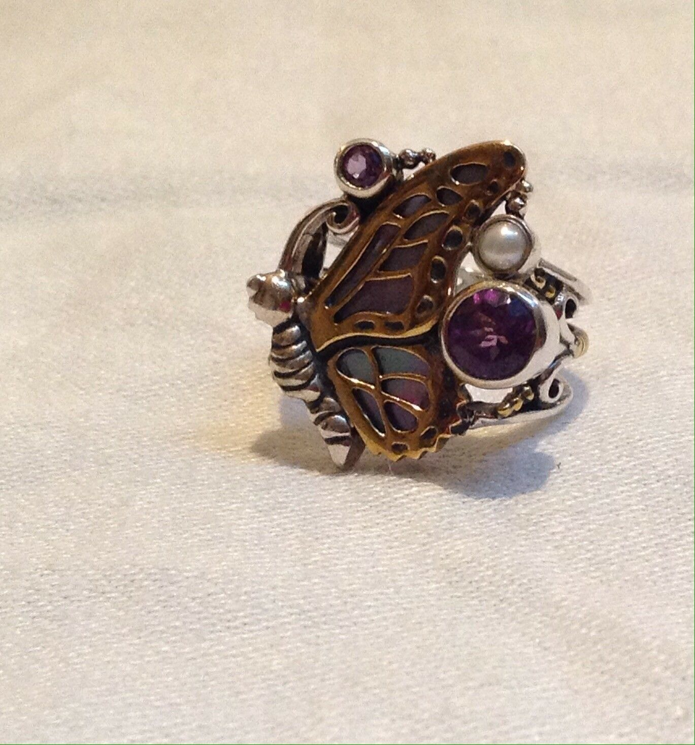 Echo of the Dreamer Sterling & Bronze Amethyst Pearl  Butterfly Ring size 7 1 4