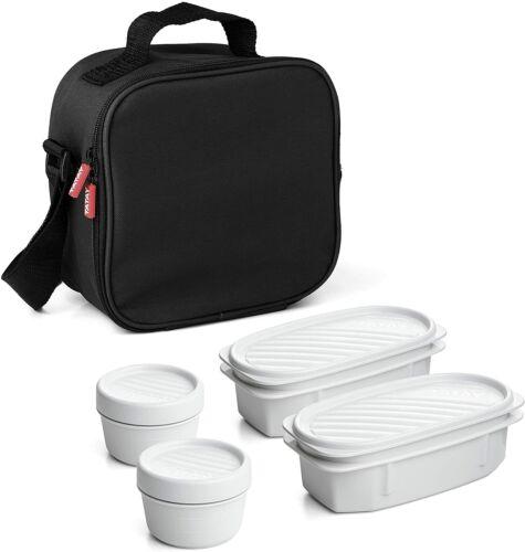 Bolsa térmica porta alimentos con 4 tapers herméticos incluidos capacidad 3 l