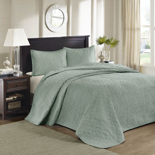 BEAUTIFUL XXL OVERSIZE CLASSIC COZY SOFT SEA GREEN VINTAGE BEDSPREAD SET KING SZ