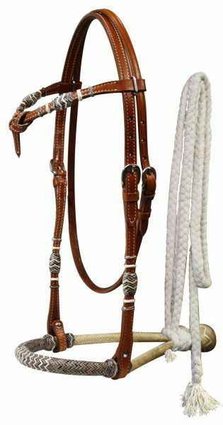 WESTERN SADDLE HORSE RAWHIDE CORE BOSAL BITLESS BRIDLE W   COTTON MECATE REINS  factory outlet store