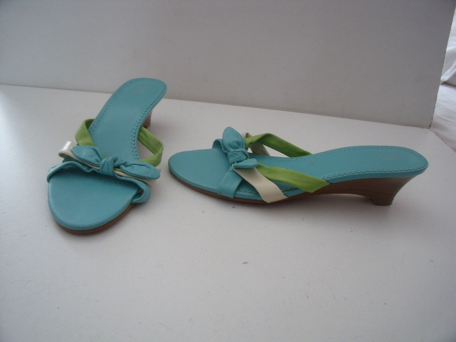 MARKS & SPENCER BLUE LOW & GREEN & CREAM LOW BLUE HEEL SANDALS MULES  6 63513a